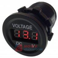 Wskaźnik napięcia /Voltomierz 6-30V LED RED  okrągły