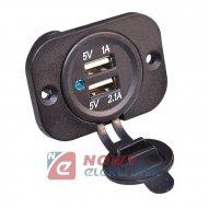Ładowarka USB montażowe 12V(led) 5V 2,1+1A(gniazdo USB)