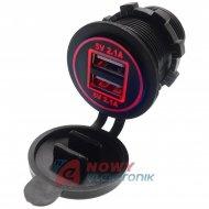 Ładowarka USB 12-24V /5V 4,2A LED RED, montażowa z klapką,
