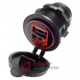 Ładowarka USB 12-24V /5V 4,2A LED ORANGE, montażowa z klapką,