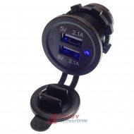 Ładowarka USB 12-24V /5V 4.2A LED BLUE 2xUSB 2.1 montażowa