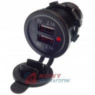Ładowarka USB 12-24V /5V 4.2A LED RED 2xUSB 2.1 montażowa
