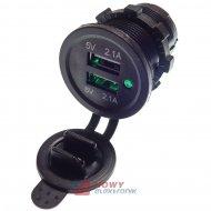 Ładowarka USB 12-24V /5V 4.2A LED GREEN 2xUSB 2.1 montażowa