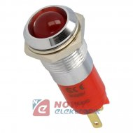 Kontrolka LED 24V czerwona 14mm 24-28VDC IP67 metal