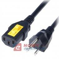 Kabel zasil.PC NEMA 5-15 wtyk, IECC13 żeń. 1,5m biały 10A 125V(USA)110V