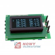 Zestaw AVT5489C 8-kan. termometr cyfrowy LCD z Alarmem (zmontowany)