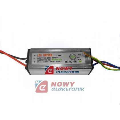 Zasilacz ZI LED prąd. 900mA 30W 21-36V 30W IP65 Driver