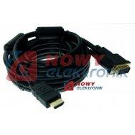 Kabel HDMI - DVI 5,0m złote VITALCO