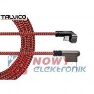 Kabel USB wt.A-mikroUSB 1m kąt. 180° max 2A DSF601 TALVICO