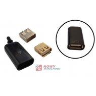 Gniazdo USB A na kabel złocone