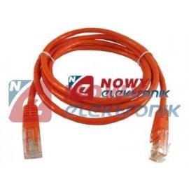 Kabel LAN kat.5e UTP 1m pomar. /czerwony
