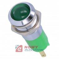 Kontrolka LED 24V zielona  14mm 24-28VDC IP67 metal