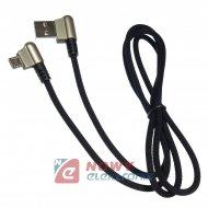 """Kabel USB-Micro USB 1m kątowy metalowe wtyki """"typ sznurówka"""" 2.4A"""