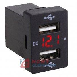 Ładowarka USB 12-24V /5V 3.1A RED +VOLTOMIERZ