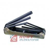 Klucze imbus.7cz. 1,3-5mm kpl. rozkładany HY-HL-0117