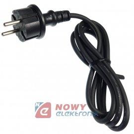 Kabel zasil. sieciowy 1,3-1.4m czarny 2x0,75mm2 IP44