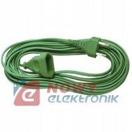 Przedłużacz płaski 1gn 5m ziel. sieciowy zielony