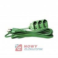 Przedłużacz płaski 3gn 3m ziel. sieciowy zielony