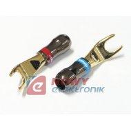 Wtyk pod gn.banan widełki 5mm złoty na kabel  LA925 Vitalco