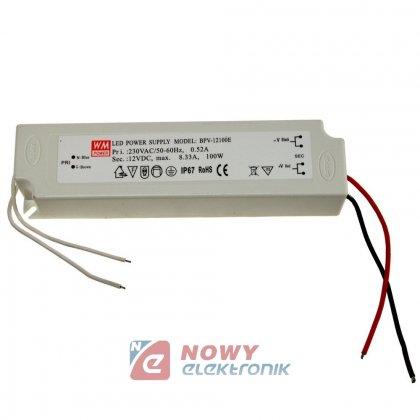 Zasilacz ZI LED 12V/8.3A IP67 EK 100W Impulsowy plastik