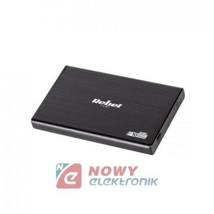 Obudowa HDD 2,5 SATA USB typu C Rebel aluminiowa