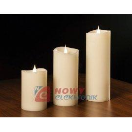 Świeca woskowa LED mała ivory ruchomy płomień świeczka