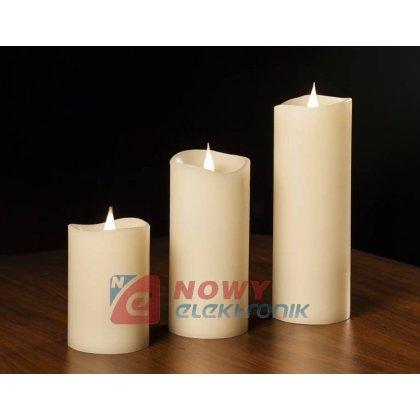 Świeca woskowa LED średnia ivory ruchomy płomień świeczka