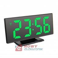 Zegar LED DS-3618L zielony   LED z budzikiem, termometr