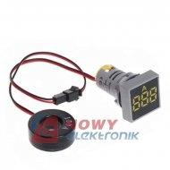 Kontrolka LED amperomierz Żółty kwadrat 100A, zasilanie 50-380VAC