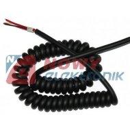 CB kabel mikrofonowy 6 pin 1,8m 5+ekran spiralny do gruszki