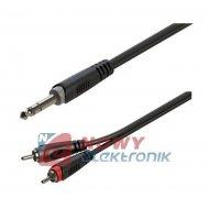 Kabel jack 6,3st.wt/2xwt.RCA 1m ROXTONE