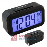 Budzik Cyfrowy LCD czarny podśw. LED Zegar, termometr, data