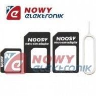 Adapter do kart micro i nano SIM /czarny + klucz