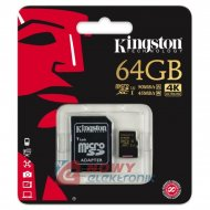 Karta pamięci micro SDXC 64GB U1 Kingston Class 10, UHS-I z adapterem