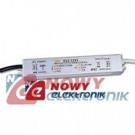 Zasilacz ZI LED 12V/1.25A IP67 A 15W Impulsowy aluminium