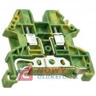 Złączka na szynę DIN DK2.5N-PE uziemiająca, Dinkle, zielono-żółta