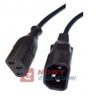 Kabel zasil. PC łącznik 5m WN-12 3x1mm czarny Produkcja Krajowa PL