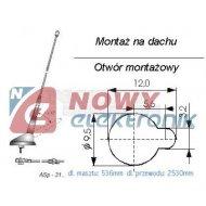 Antena samochodowa ASP-31.01 UNICON regulowana dachowa