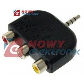 Rozgałęźnik wt.3,5 4-pol/3*RCA przejście jack 3.5, adapter