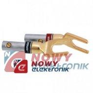 Konektor widełkowy złoty LA950 V vitalco  pod gniazdo bananowe