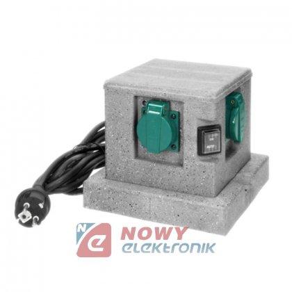 Gniazdo elektr. ogrodowe słupek 4x2P+Z H07RN-F 3x1,5mm2 3m
