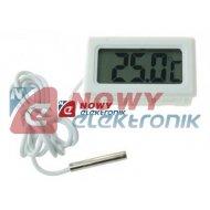 Termometr panelowy LCD W biały -50°C do 100°C