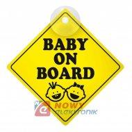 Tabliczka Baby on Board (*) do zawieszenia w aucie, LAMPA