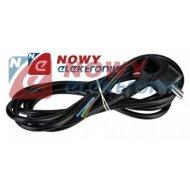 Kabel zasil. sieciowy 3m czarny 3x1.5mm wtyk kątowy z uz.