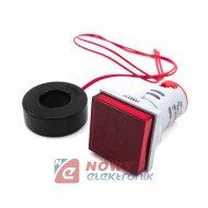 Kontrolka LED Volt+Amper+Hz czer 22mm min.0,6A 150W, 60-500VAC miernik