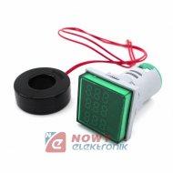 Kontrolka LED Volt+Amper+Hz ziel 22mm min.0,6A 150W, 60-500VAC miernik