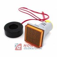 Kontrolka LED Volt+Amper+Hz żółt 22mm min.0,6A 150W, 60-500VAC miernik