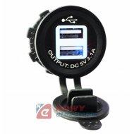 Ładowarka USB 12-24V 3.1A BLUE LED 2.1A+1A montażowa