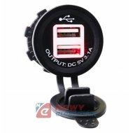 Ładowarka USB 12-24V 3.1A RED LED 2.1A+1A montażowa
