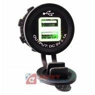 Ładowarka USB 12-24V 3.1A GREEN LED 2.1A+1A montażowa